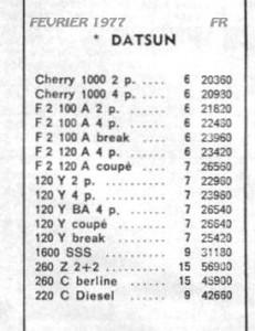 TARIF 1977444