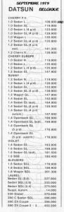 TARIF DATSUN 09 1979 BELGIQUE 628