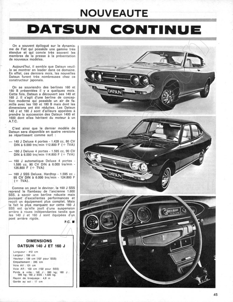 1973 DATSUN 140 J SM 337