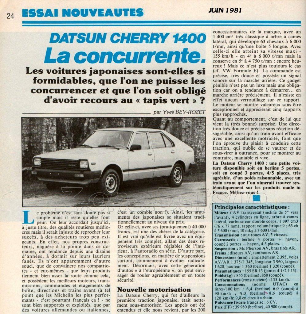 ESSAI datsun cherry 1400 de 1981101