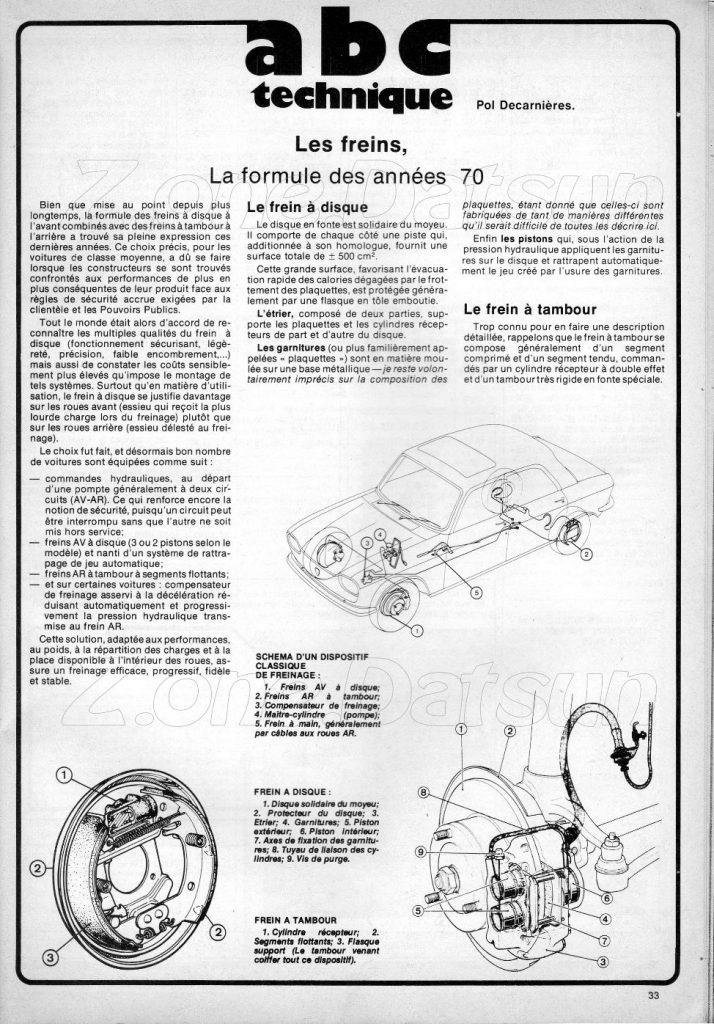 TECHNIQUES ANNEES 1970 - LES FREINS .